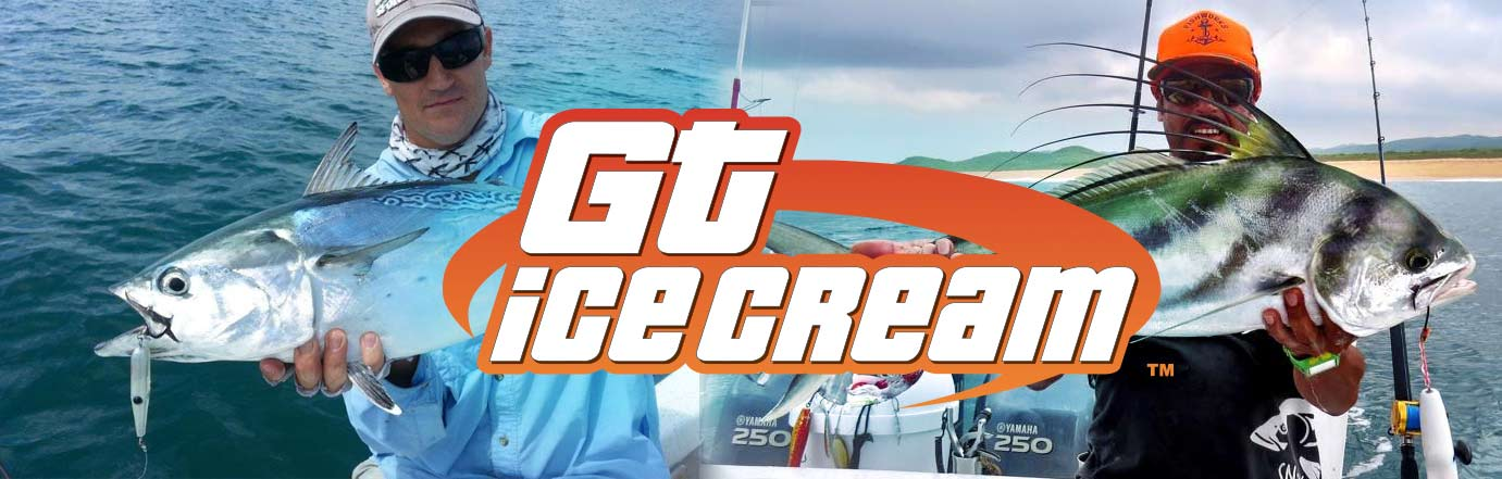 GT Ice Cream contact us page header image with logo and two fishing images